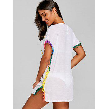 Bohemian Pom-pom Crochet Trim Cover Up - WHITE ONE SIZE