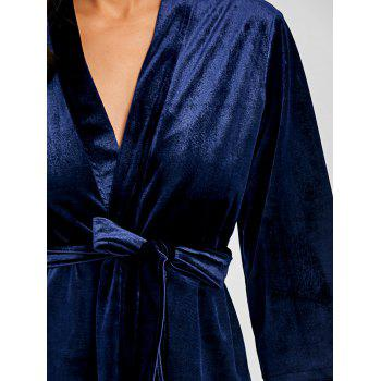 Lingerie Velvet Nightwear Short Robe - CADETBLUE M