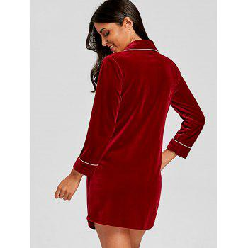 Front Pocket Velvet Long Sleepwear Shirt - WINE RED L