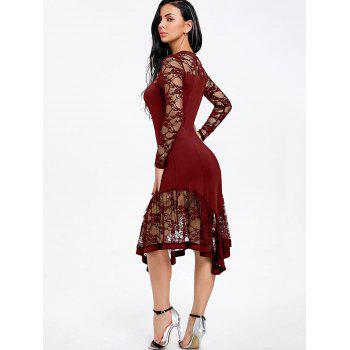 Lace Panel Cut Out Asymmetrical Club Dress - WINE RED M