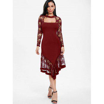 Lace Panel Cut Out Asymmetrical Club Dress - WINE RED XL