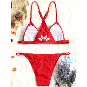 Low Waist String Embroidery Bikini - RED S