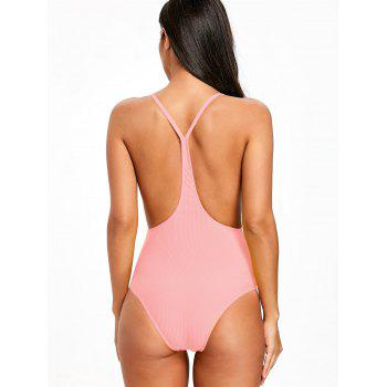 Ribbed Frilled Trim One Piece Swimsuit - PINK XL