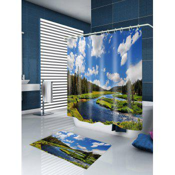 River In Forest Print Waterproof Bathroom Shower Curtain - COLORMIX W71 INCH * L79 INCH