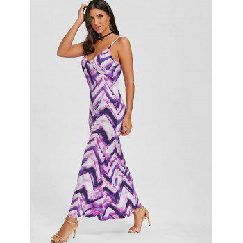 Cami Tie Dye Long Dress - PURPLE M