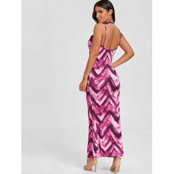 Cami Tie Dye Long Dress - ROSE RED XL