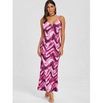 Cami Tie Dye Long Dress - ROSE RED M