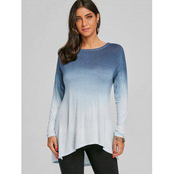Ombre Color Back Cut Out High Low Top - BLUE 2XL