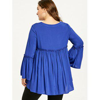 Plus Size Bell Sleeve Plunging Neck Smock Blouse - BLUE 4XL