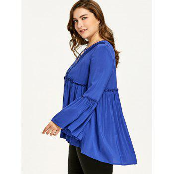 Plus Size Bell Sleeve Plunging Neck Smock Blouse - BLUE 5XL