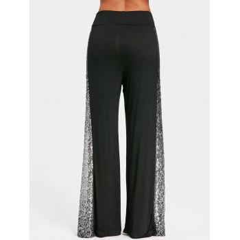 Sequins Insert Maxi Palazzo Trousers - BLACK L