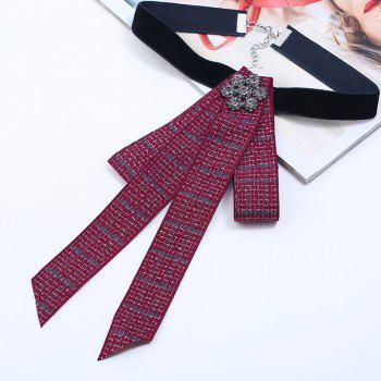 Bow Tie Rhinestone Flower Velvet Choker Necklace - RED