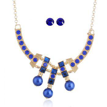 Statement Rhinestone Alloy Bead Necklace and Earrings - BLUE