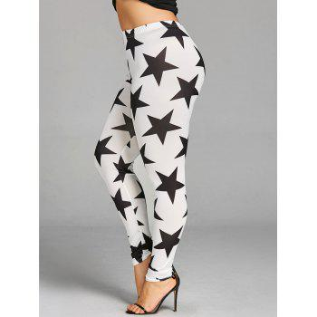 Plus Size Star Graphic Leggings - WHITE/BLACK XL