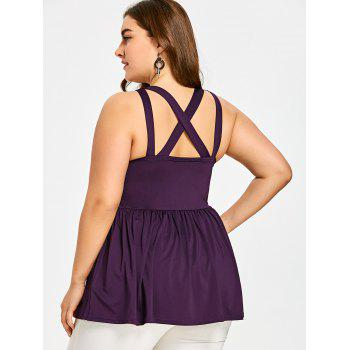 Haut Babydoll Taille Empire Grande-Taille - Pourpre 3XL