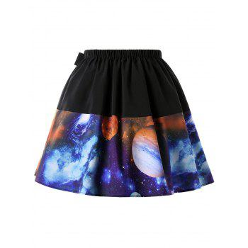 Plus Size A-line Galaxy Planet Print Skirt - COLORMIX XL