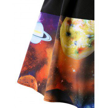 Plus Size A-line Galaxy Planet Print Skirt - COLORMIX 3XL