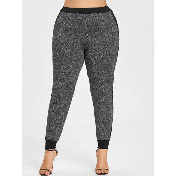 Side Block Panel Plus Size Joggers - GRAY 3XL