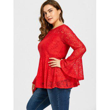 Plus Size Lace Peplum Blouse - RED 3XL