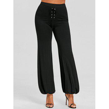 High Waist Lace-up Loose Pants - BLACK XL