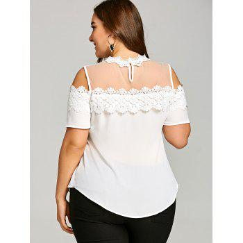 Plus Size Lace Trim Cold Shoulder Blouse - WHITE XL
