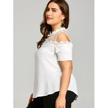 Plus Size Lace Trim Cold Shoulder Blouse - WHITE 2XL
