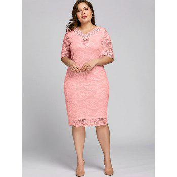 Plus Size Half Sleeve V Neck Lace Dress - PINK 5XL