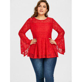 Plus Size Lace Peplum Blouse - RED 4XL