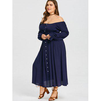 Plus Size Pleated Tea Length Dress - CADETBLUE 3XL