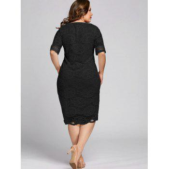 Plus Size Half Sleeve V Neck Lace Dress - BLACK XL
