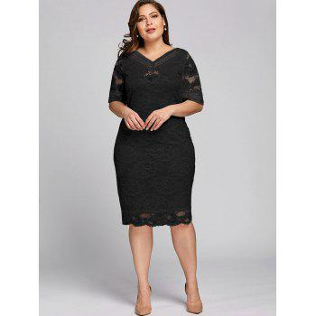 Plus Size Half Sleeve V Neck Lace Dress - BLACK 3XL