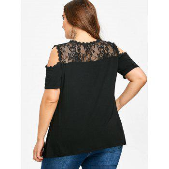 Plus Size Lace Insert Short Sleeve T-shirt - BLACK 5XL