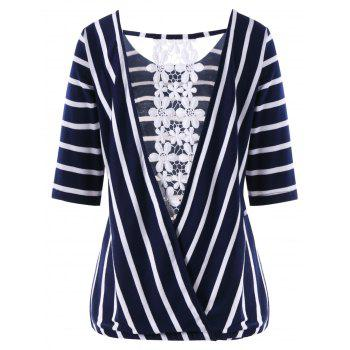 Striped Lace Insert Surplice Back T-shirt - PURPLISH BLUE 2XL
