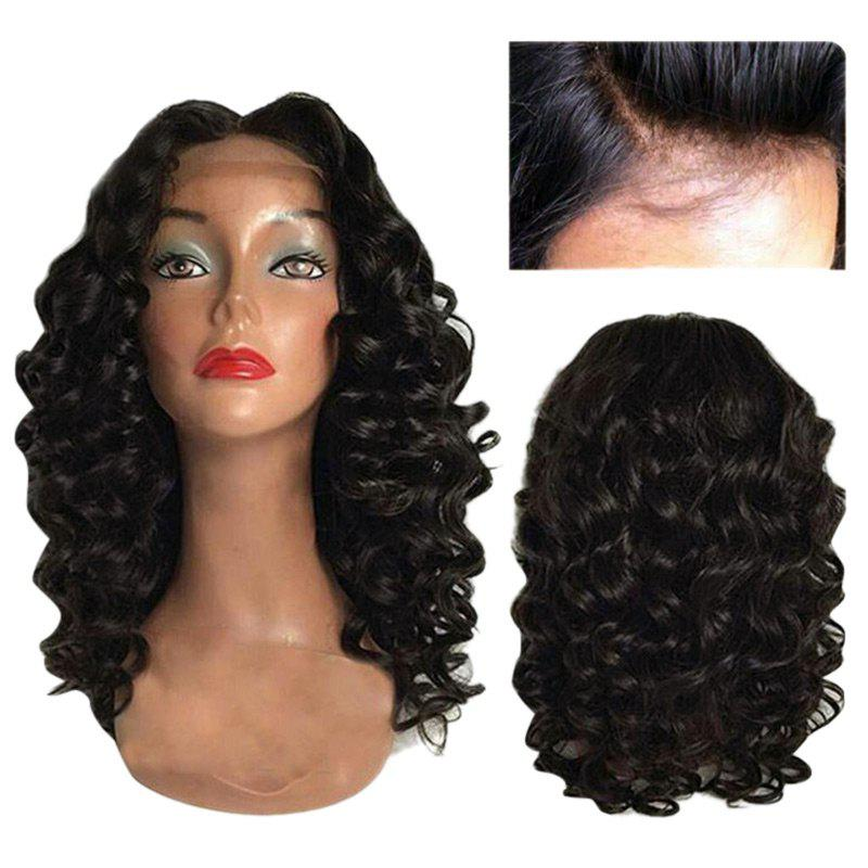 Long Center Part Body Wave Lace Front Synthetic Wig - NATURAL BLACK 20INCH