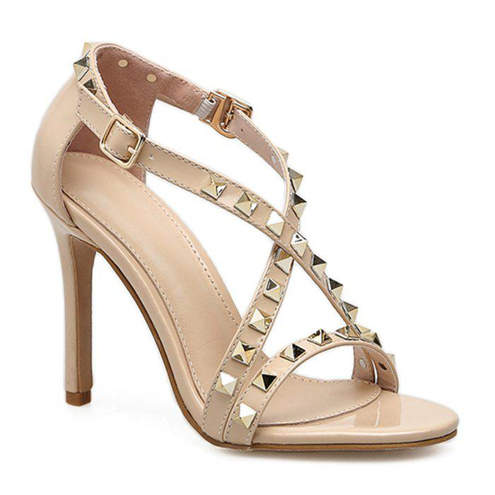 Rivets Criss Cross High Heel Sandals - APRICOT 35