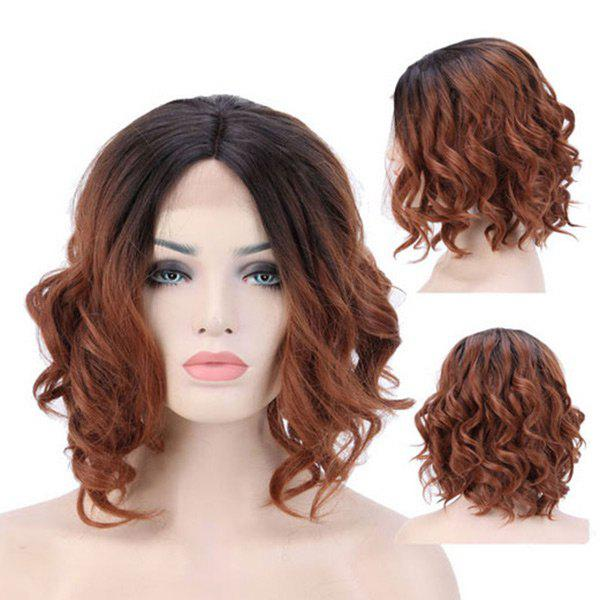 Middle Parting Medium Wavy Synthetic Lace Front Wig - BLACK/BROWN 14INCH