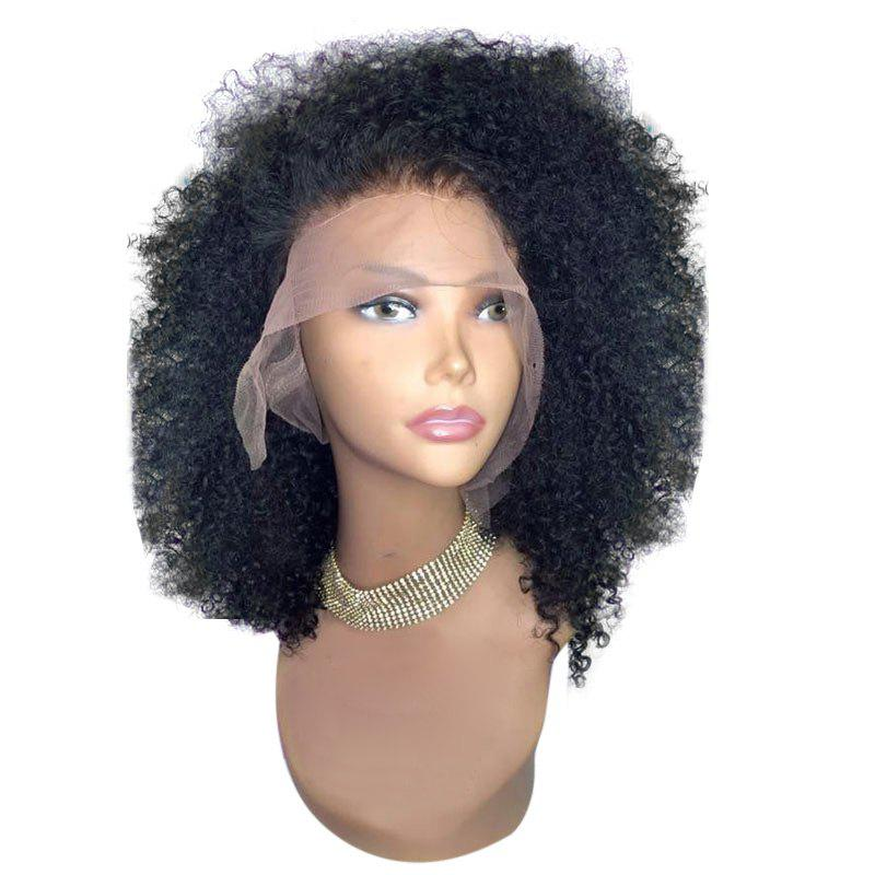 Medium Free Part Fluffy Afro Curly Synthetic Lace Front Wig - NATURAL BLACK 12INCH
