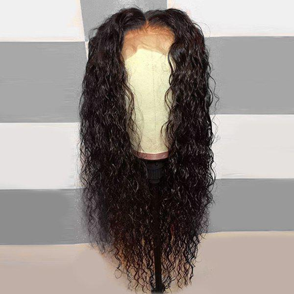 Long Middle Part Fluffy Curly Lace Front Synthetic Wig - DEEP BROWN 24INCH