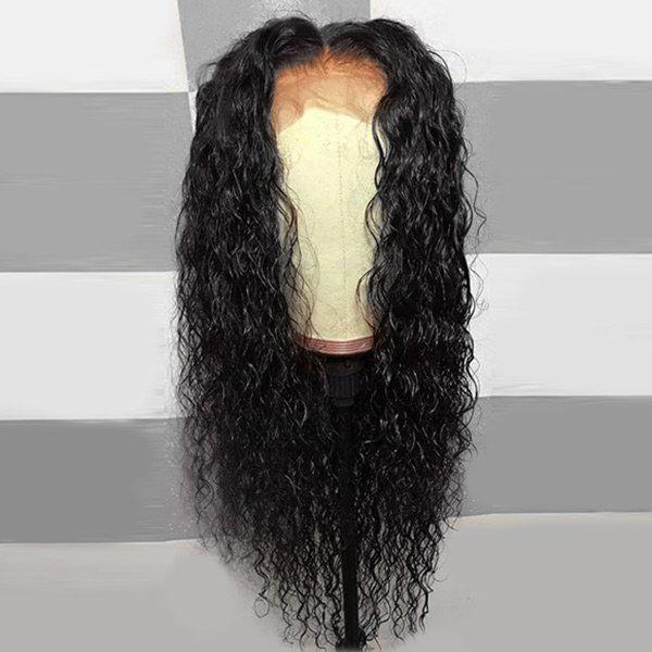 Long Middle Part Fluffy Curly Lace Front Synthetic Wig - NATURAL BLACK 22INCH