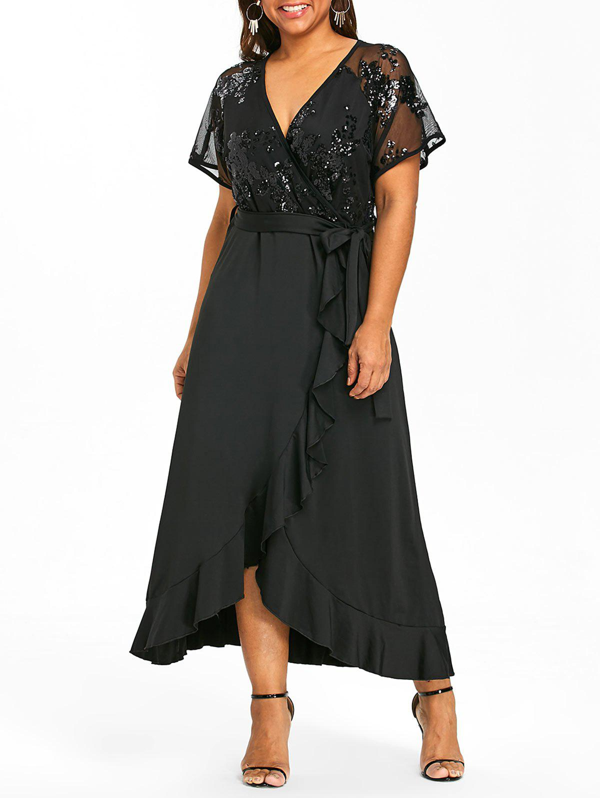 Belted Plus Size Faux Wrap Maxi Dress - BLACK 2XL