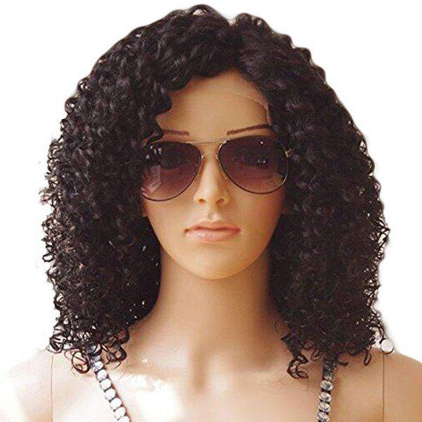 Medium Side Bang Fluffy Kinky Curly Synthetic Lace Front Wig - DEEP BROWN 12INCH