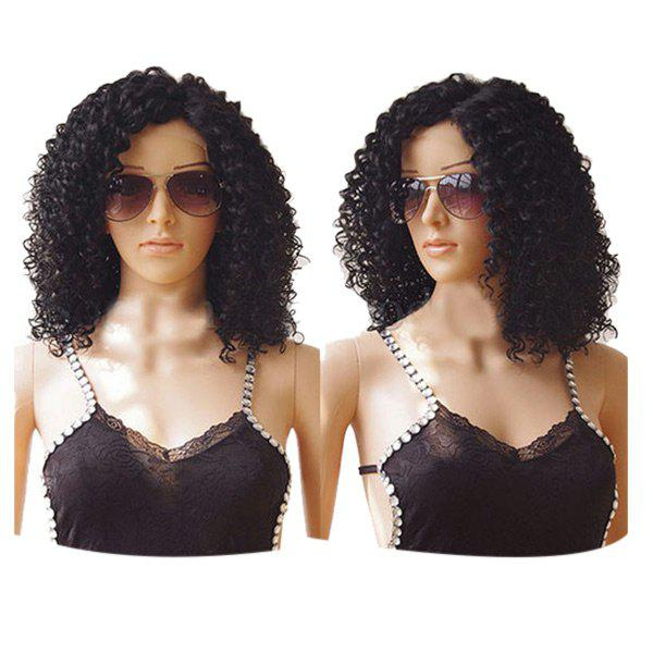 Medium Side Bang Fluffy Kinky Curly Synthetic Lace Front Wig - NATURAL BLACK 12INCH