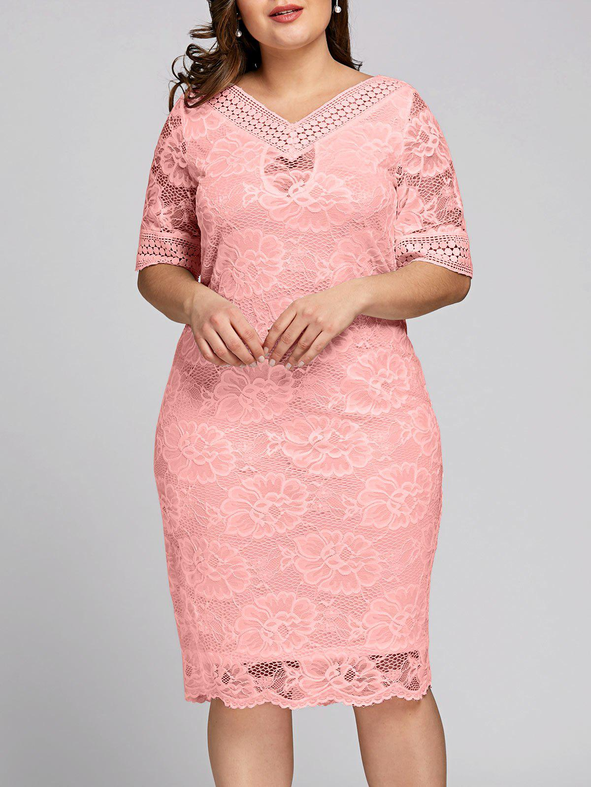 Plus Size Half Sleeve V Neck Lace Dress - PINK 2XL