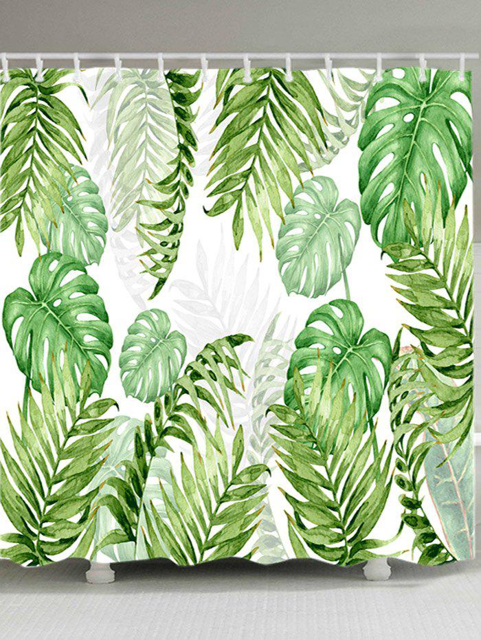 Tropical Leaves Print Waterproof Bathroom Shower Curtain - GREEN W71 INCH * L79 INCH