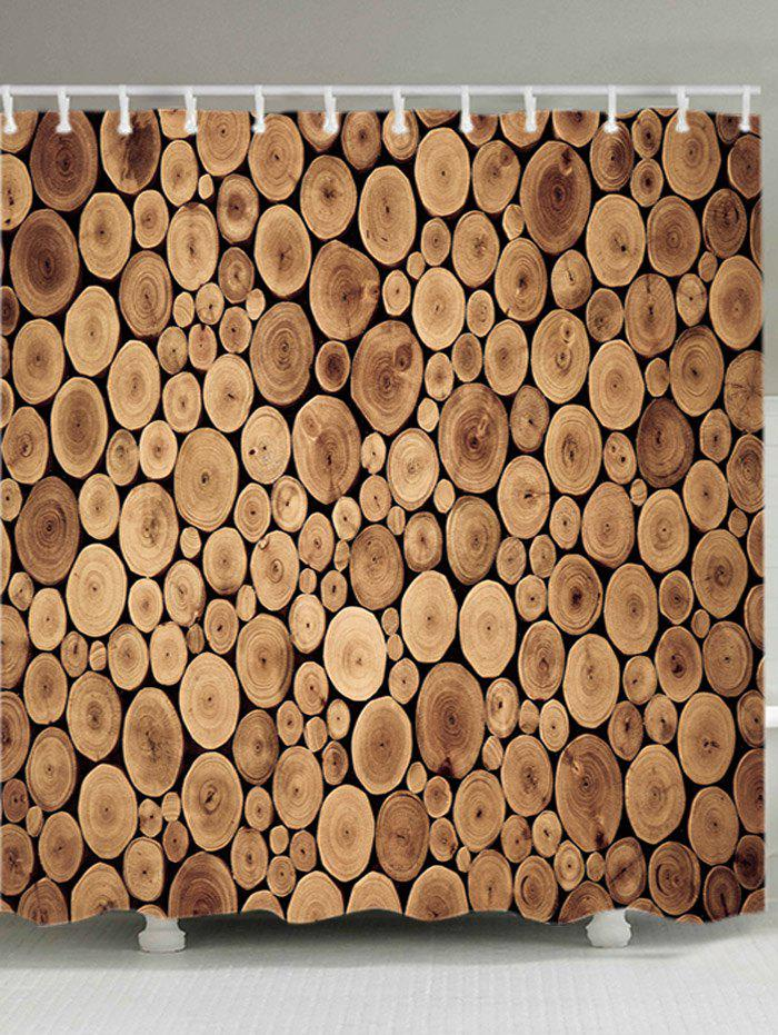 Tree Grain Pattern Waterproof Shower Curtain - WOOD W71 INCH * L71 INCH