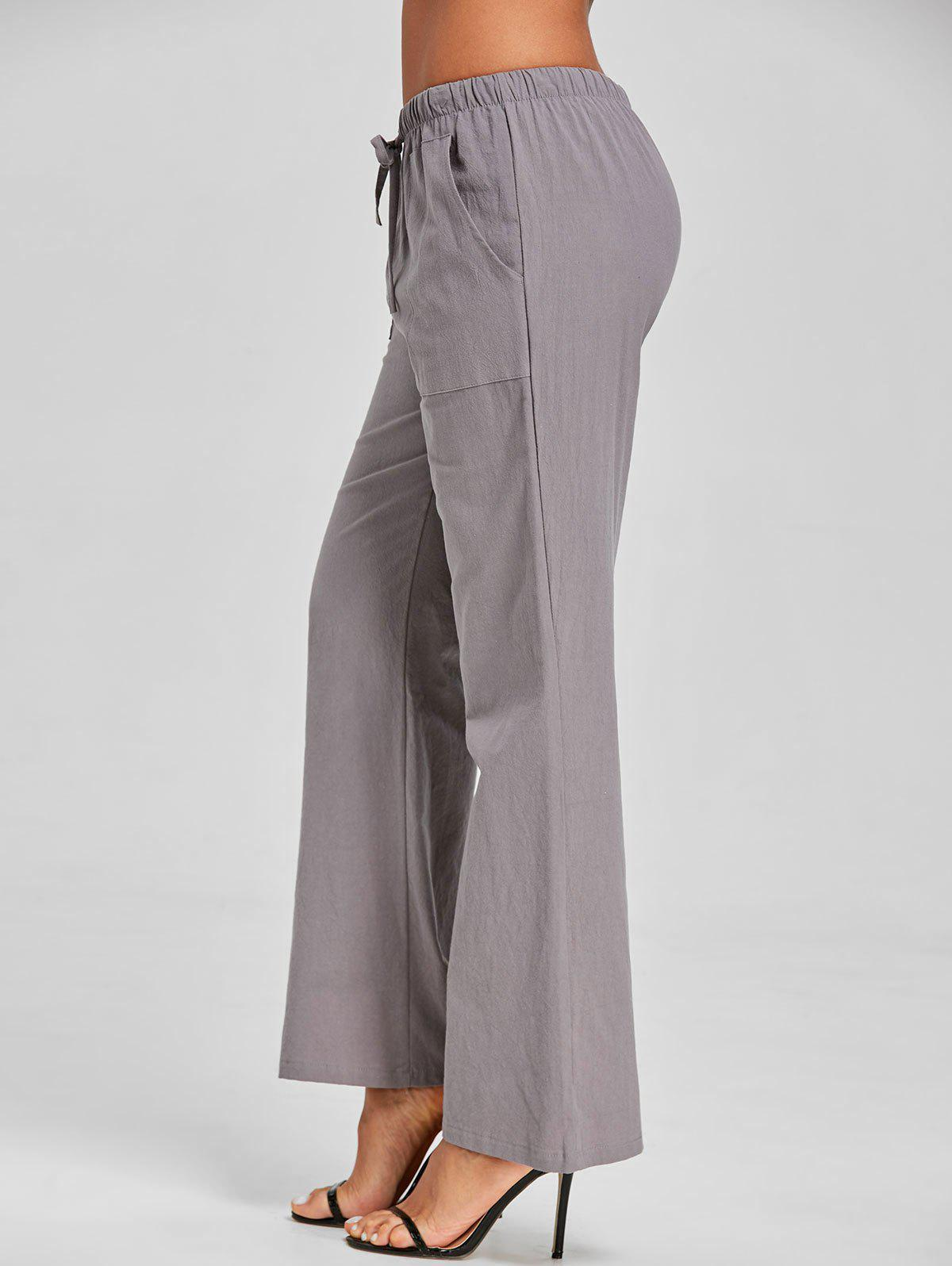 Straight Drawstring Pants - GRAY S