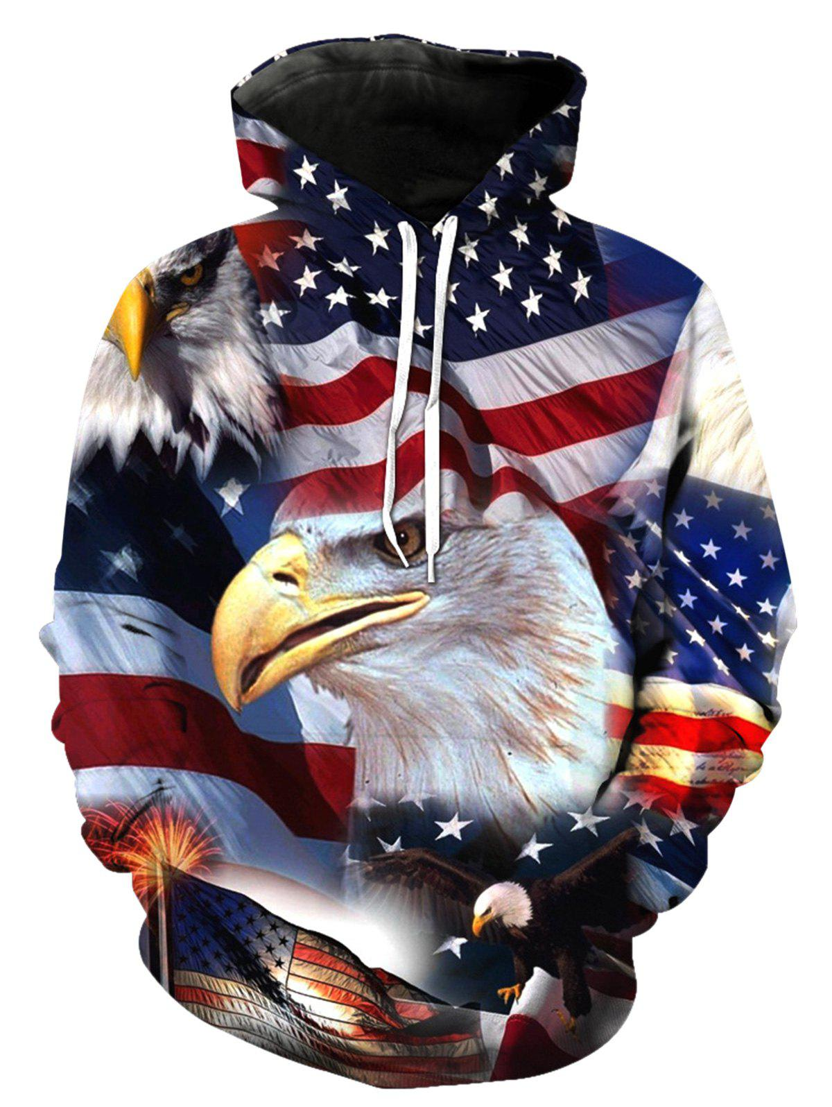 Patriotic American Flag and Animal 3D Pattern Pocket Hoodie - COLORMIX 5XL