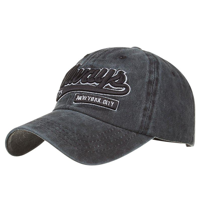 ALWAYS Patern Embroidery Washed Fine Baseball Cap - BLACK