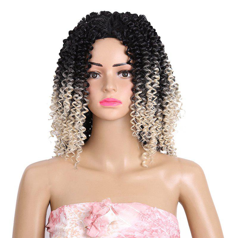 Medium Inclined Bang Kinky Curly Colormix Synthetic Wig - DARK OFF WHITE OMBRE