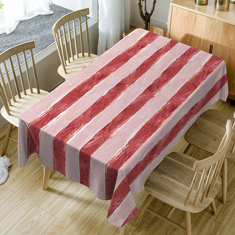 Meat Striped Pattern Waterproof Table Cloth - RED W54 INCH * L72 INCH